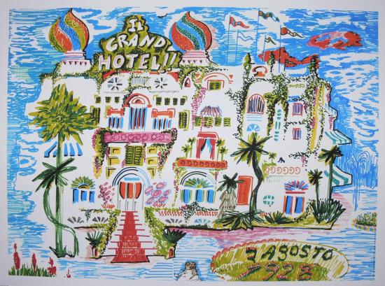 Amarcord le grand hotel lithographie 1976