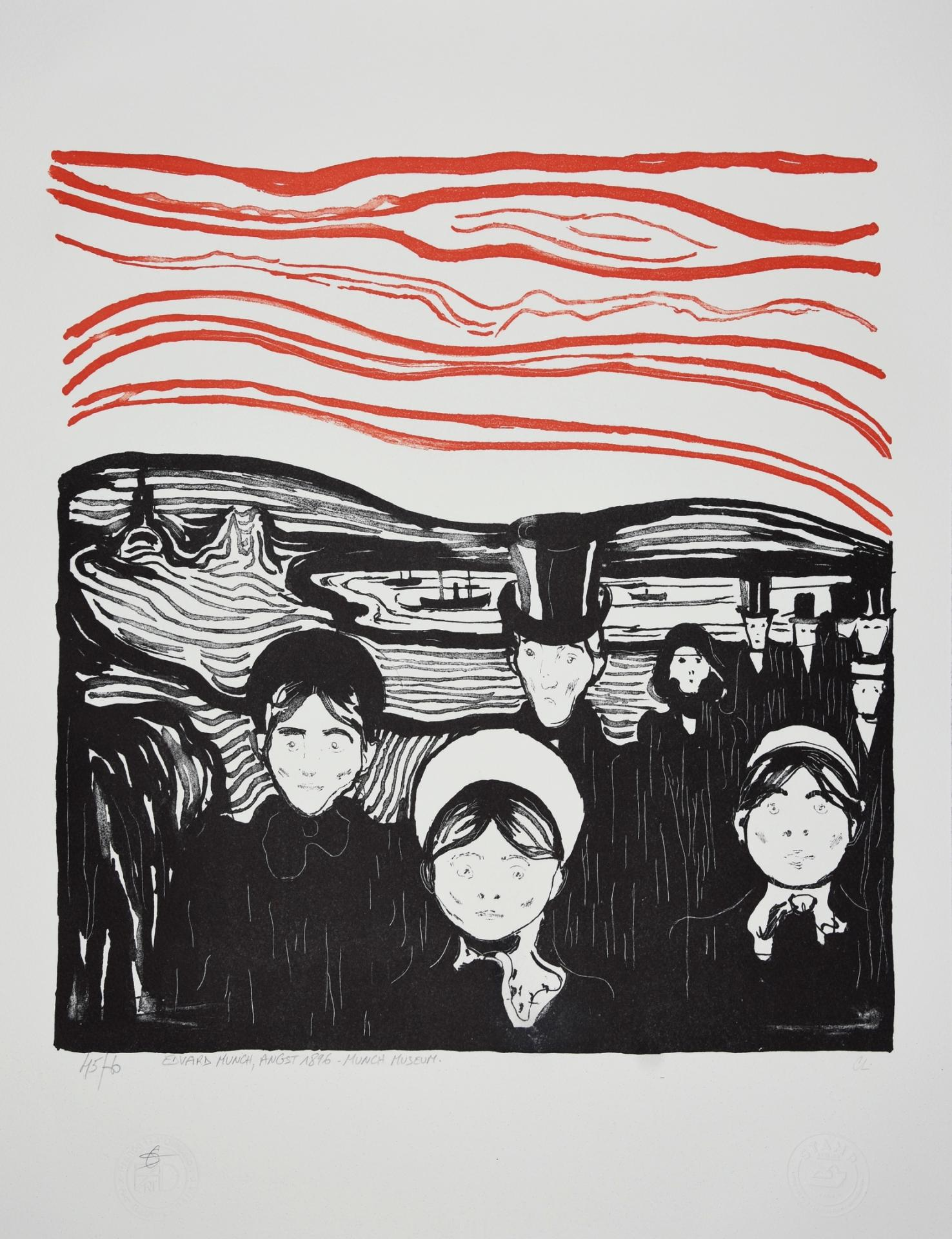 EDVARD MUNCH Lithographie ANGST 1896