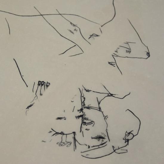 """Egon Schiele, Lithographie """"Couple Enlacé"""" 1911"""