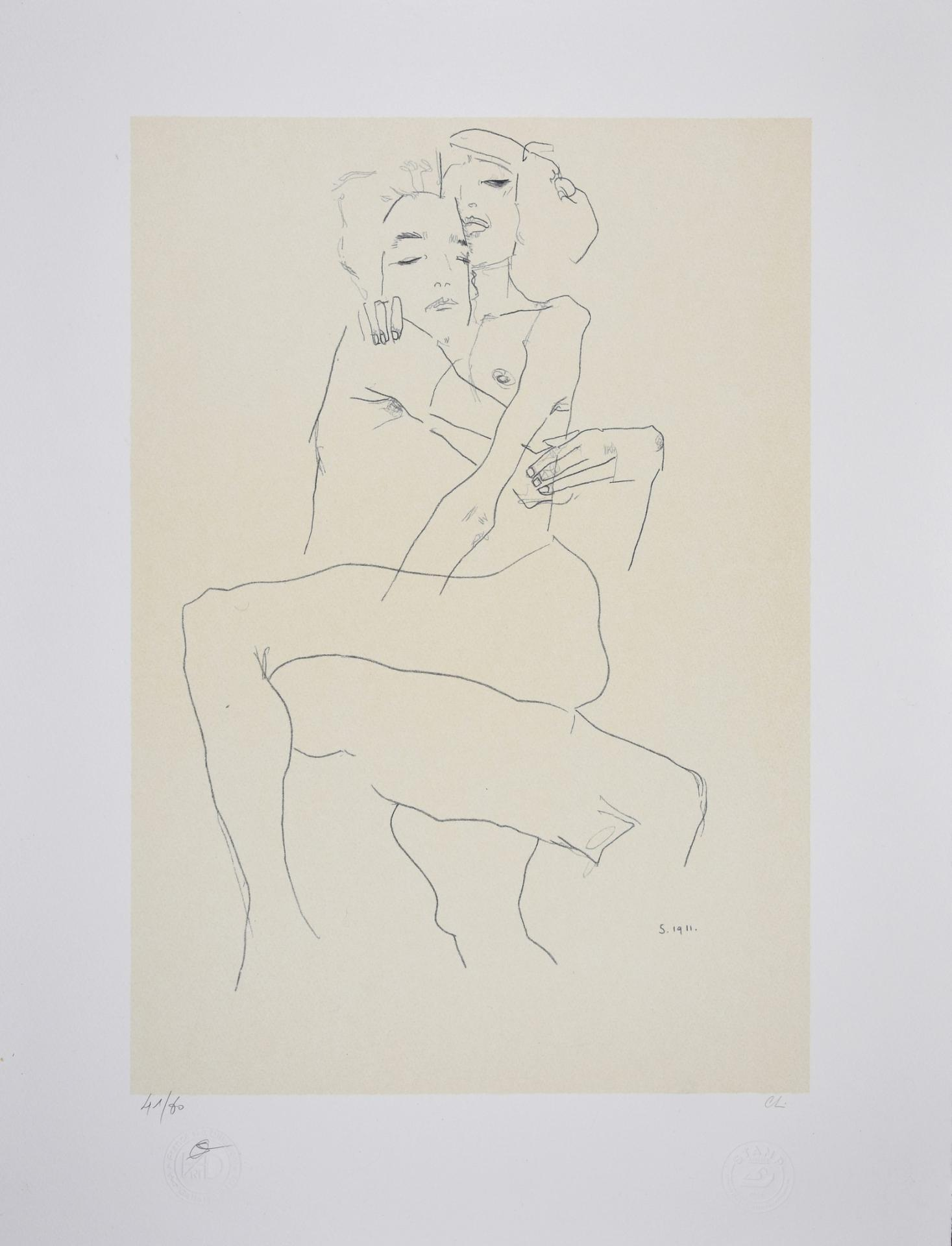 EGON SCHIELE - LITHOGRAPHIE - COUPLE ENLACE 1911