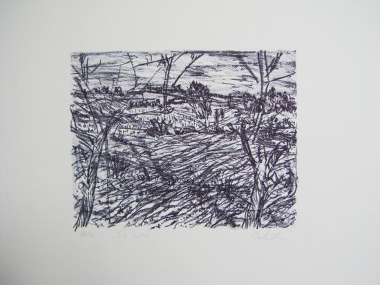 Jean-Baptiste Calistru - Lithographie - Paysage de jour