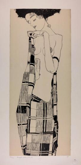 Egon Schiele, Portrait de Gerti Schiele, Lithographie 1909, FRANCE ART DIFFUSION