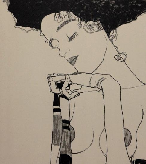 Egon Schiele, Portrait Gerti Schiele, Lithographie 1909, FRANCE ART DIFFUSION