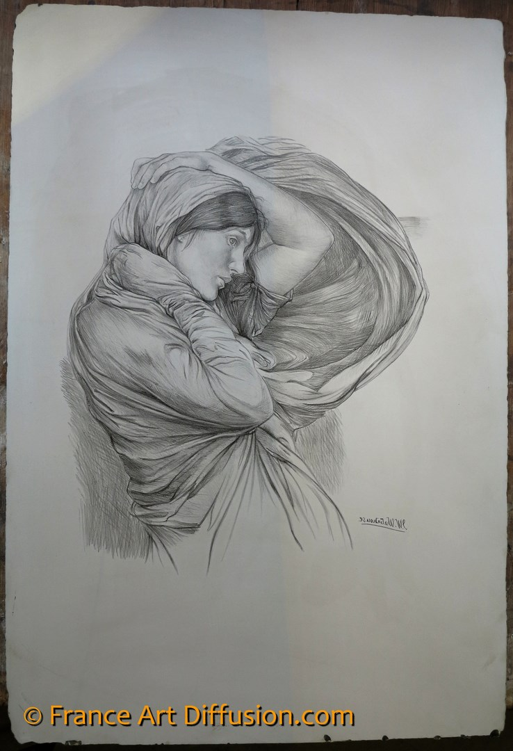 John William Waterhouse, Stufy for Boreas Lithograph, FRANCE ART DIFFUSION Edition