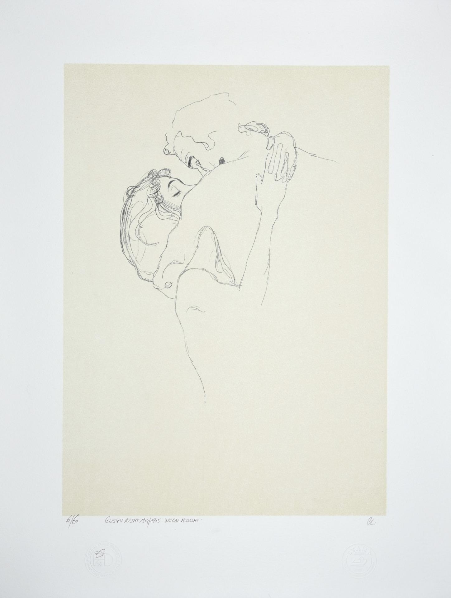 GUSTAV KLIMT Lovers lithographie