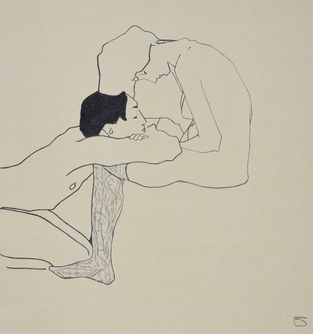 EGON SCHIELE, Lovers 1909, Lithograph
