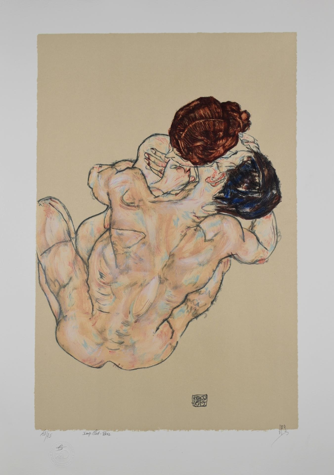 EGON SCHIELE | Lithographie | Lovers, 1917 (Mann und Frau, umarmung)