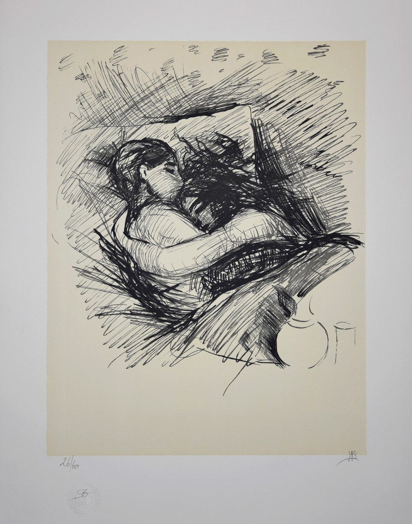 EDVARD MUNCH - LOVERS LITHOGRAPH