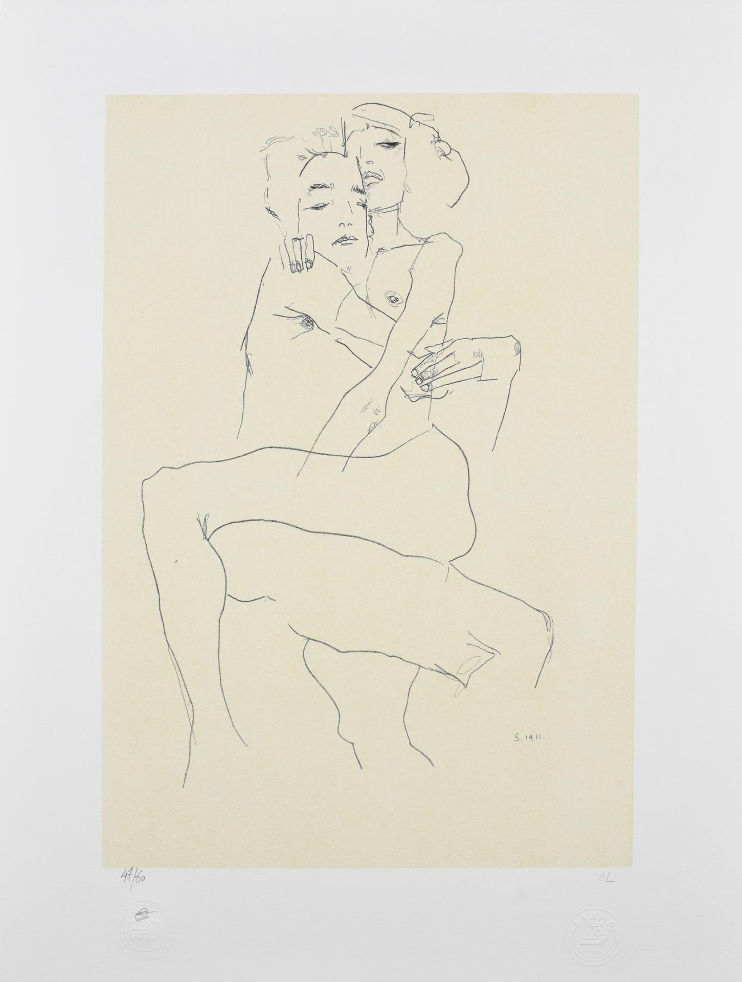 EGON SCHIELE I Couple embracing I Lithographie
