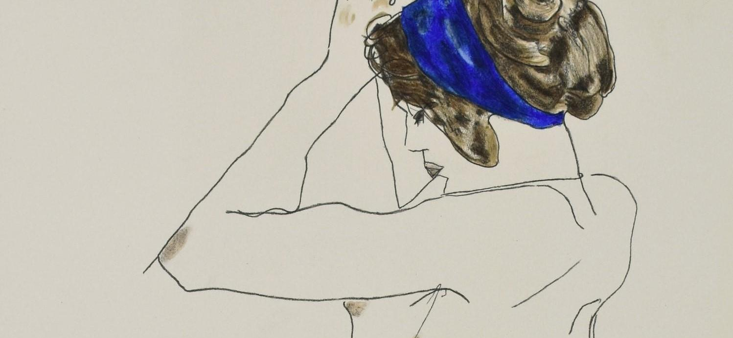 EGON SCHIELE | The girl with blue headband | Lithographie
