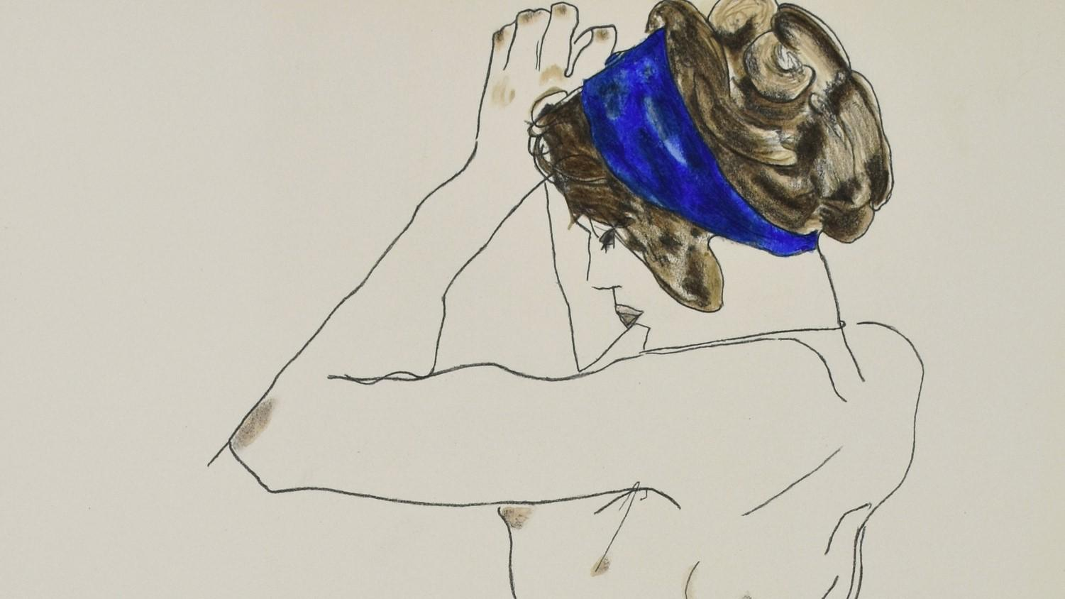 EGON SCHIELE | Lithograph | The girl with blue headband, 1912